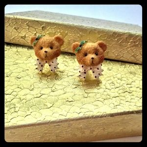 Vintage Ceramic Country Bear Post Stud Earrings